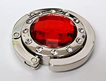 Red Ruby Crystal Surrounded by Diamonds Purse Hook Handbag Handle Caddy