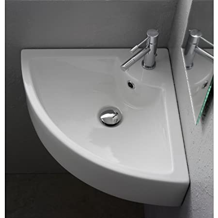 Scarabeo Scarabeo 8007/E-One Hole-637509861155 Corner Wall Mounted Ceramic Sink, White