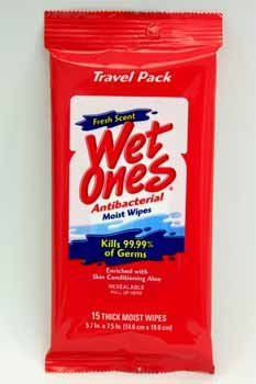 Wet Ones Antibacterial Hand Wipes - Fresh Scent: Travel Pack (076828047022)