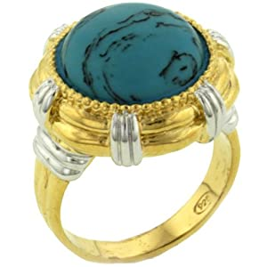 Size 8 Round Cabocho Turquoise Fashion Jewelry Sterling Silver Ring