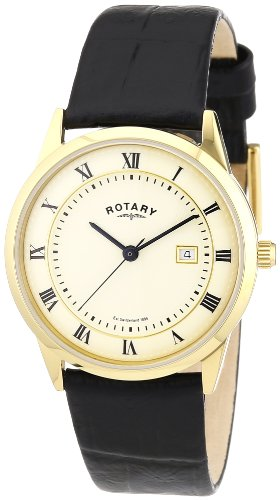 Rotary GS02324/08 Gents Gold PVD Stainless Steel Watch with Black Leather Strap