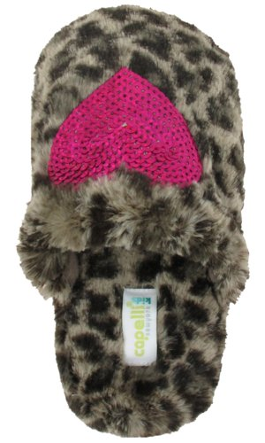 Cheap Capelli New York Leopard Faux Fur Scuff With Sequins Heart Girls Indoor Slipper Pink Combo 10/11 (B005MJYIS4)