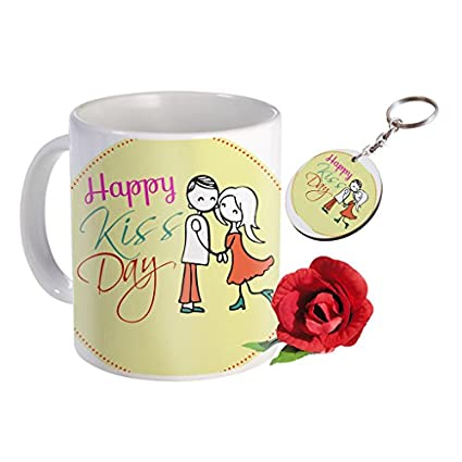 Sky Trends Valentine Combo Gift For Husband Printed Coffee Mug Keychain Artificial Rose Gift For Kiss Day Propose day Promise Day Hug Day Rose Day Gifts