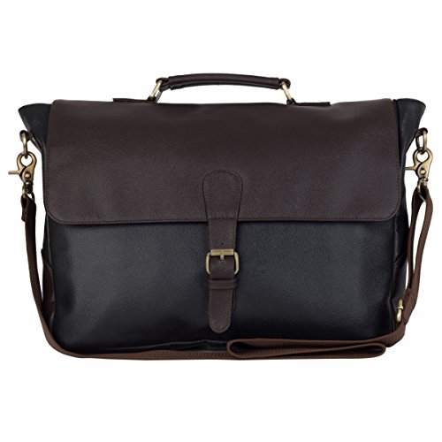 The House Of Tara Faux Leather Laptop and Office Bag (Black and Brown)