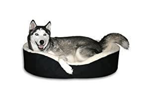 """Dog Bed King USA Cuddler. X-Large Black/Imitation Lambswool. Size: 42x27x7"""" Removable Washable Cover."""