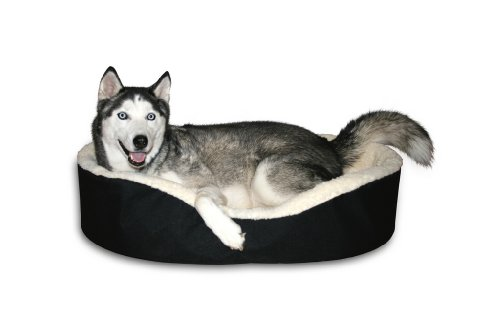 "Dog Bed King Usa Cuddler. X-Large Black/Imitation Lambswool. Size: 42X27X7"" Removable Washable Cover."