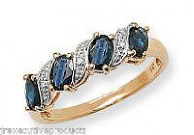 J R Jewellery 407315 9ct Gold Sapphire Marquise & Diamond Eternity Ring