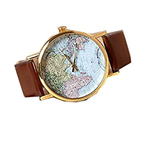 LUCKYCAT PU Leather Strap watch Word Map Quartz watch Sport Watch Women Fashion Leather watch Men's wrist watch Student Watch PB18-BR
