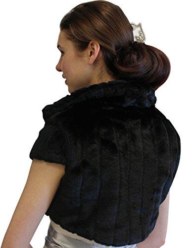 Faux Pelted Fur Bolero Jacket for brides Black-M