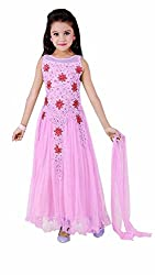 Z Fashion Light Pink Color Soft Net Gowns for Girls Party Wear (Kids Dress)