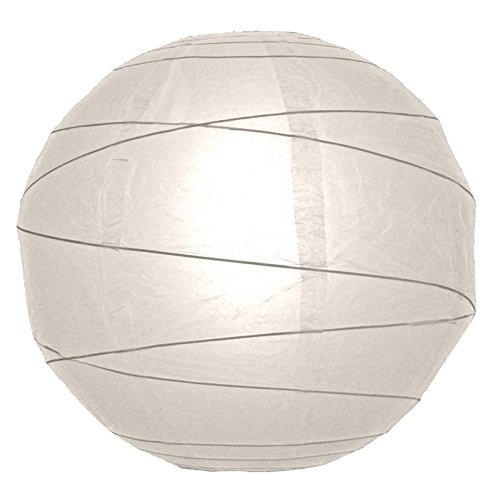"WeGlow International 10"" White Free-Style Ribbed Paper Lantern (Set of 2)"