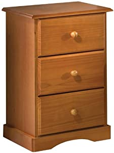 Night Stand, 3-Drawer, 100% Solid Wood, Optional Antique Brass Knobs, Honey Pine