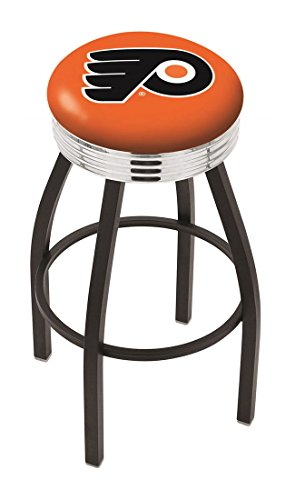 "30"""" L8B3C - Black Wrinkle Philadelphia Flyers Swivel Bar Stool with Chrome 2.5"""" Ribbed Accent Ring-By BlueTECH"