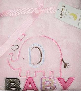 Carter's Snuggle Me Pink Appliqued Embroidered Elephant Baby Blanket