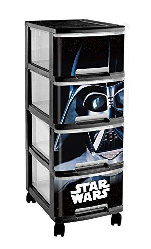 Curver 225221 Tour 4 Tiroirs A4 10 L + Roulette Motif Décor Star Wars Plastique Noir 26,4 x 35,1 x 67,5 cm