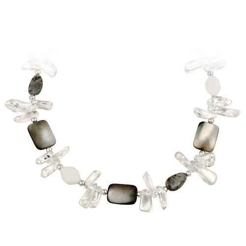 Sterling Silver and Genuine Stone Multi Grey Necklace, 18+3