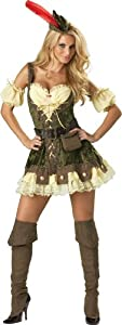 InCharacter Costumes, LLC Women's Racy Robin Hood Costume, Tan/Green, Medium