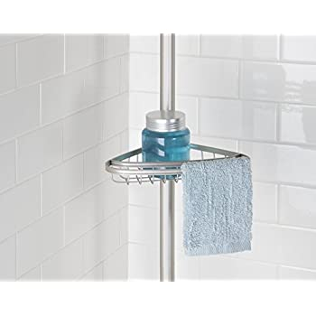 mDesign Bathroom Shower 4-Tier Constant Tension Caddy - Satin