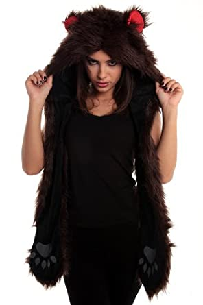 Faux Fur Animal Hats Hoods Brown Bear Mittens Gloves Scarf Paws