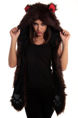 Faux Fur Animal Hats Hoods Brown Bear Mittens Gloves Scarf Paws (Bear Hood With Paw Scarf)