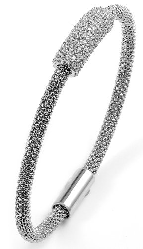 Clevereve 2013 Designer Series Sterling Silver Rhodium Plated And Micro-Pave Cz Magnetic Bangle Bracelet