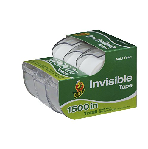 duck-brand-invisible-matte-finish-acetate-tape-with-dispenser-3-4-inch-x-500-inches-3-rolls-1302209