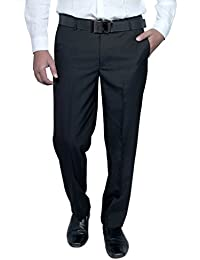 Routeen Men's Offira Black Slim Fit Formal Trousers