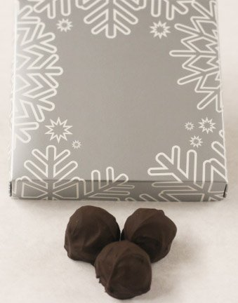Scott's Cakes Dark Chocolate Covered Mango Fruit Truffles in a 8 oz. Snowflake Box