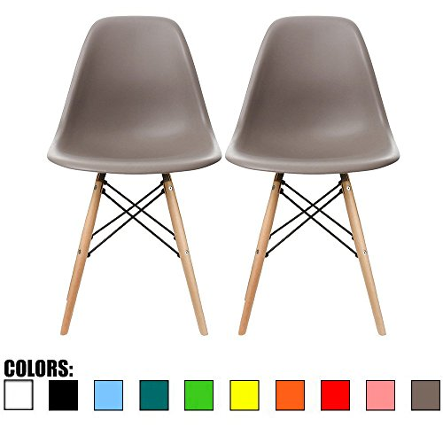 2xhome - Set of Two (2) Grey - Eames Side Chair Eames Chair Grey Seat Natural Wood Wooden Legs Eiffel Dining Room Chairs No Arm Arms Armless Molded Plastic Seat Dowel Leg