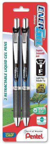 Pentel Energel penne Gel liquido retrattile bene 2/Pkg-nero