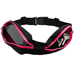 PackNBUY Black Running Sports Hiking Waist Belt Pouch with PINK Zipper holds mobile iphone accessories keys