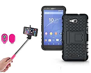 Hard Dual Tough Military Grade Defender Series Bumper back case with Flip Kick Stand for Sony E4G + Wireless Bluetooth Remote Selfie Stick for all Smart phones by carla store.