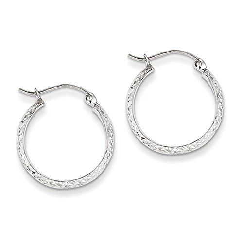 14k White Gold Diamond-cut 2.8x18mm Hollow Hoop Earrings, Jewelry Earring for Women