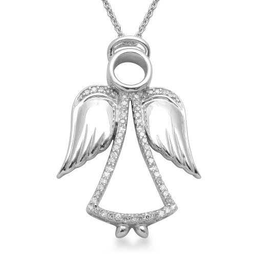 Sterling Silver Angel Pendant Necklace (1/5 cttw, I-J Color, I3 Clarity), 18