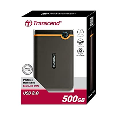 Transcend 500GB StoreJet M2 Military-Grade, Shock Resistance External Hard Drive