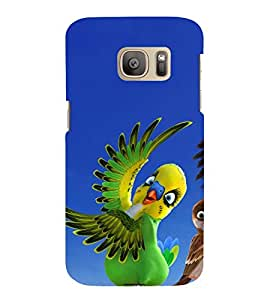printtech Nature Animated Bird Parrot Back Case Cover for Samsung Galaxy S7 edge / Samsung Galaxy S7 edge Duos with dual-SIM card slots