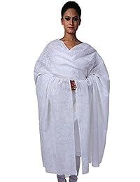 Lucknow Chikankari Exquisite Handmade Ethnic Casual White Cotton Chikan Dupatta/Stole By Ada A76821