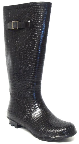 Ladies Croc Effect Wellington Boots Black