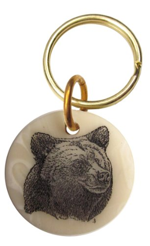 Montana Marble Etched Grizzly Bear Keychain