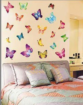 Butterflies childrens wall stickers, 21 individual butterfly wall stickers
