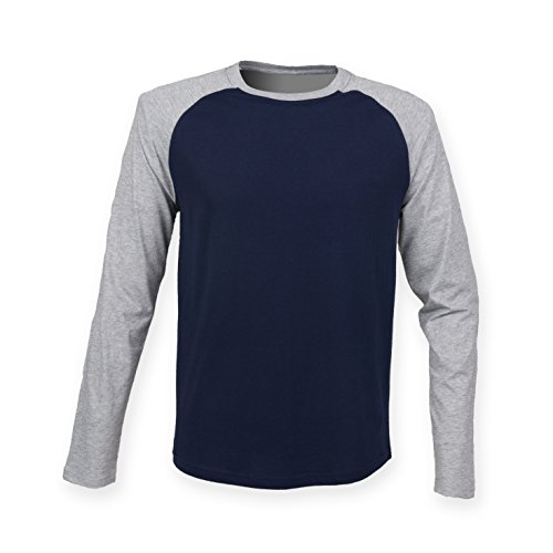 SkinniFit da uomo, maglietta a maniche lunghe da Baseball SF271 Oxford Navy/ Heather Grey small