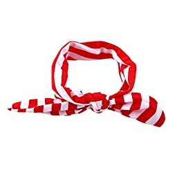 Itaar Infant Cute Girls Adrable Funny Rabbit Ear Stripe Elastic Hairband Red+White