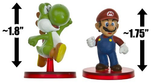 "Mario (~1.75"") & Green Yoshi (~1.8""): Super Mario Dual Mini-Figurine Collection Series - 1"