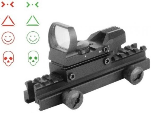 "Global Sportsman Qd Tactical 1"" Weaver-Picatinny High See Thru Stanag Riser Mount For Ar15 M4 Flattop Rifle Scope + Cqb 4 Multi Reticle Dual Red / Green Combat Specialist Edition Open Reflex Sight With Weaver-Picatinny Rail Mount - Combo Combination Packa"