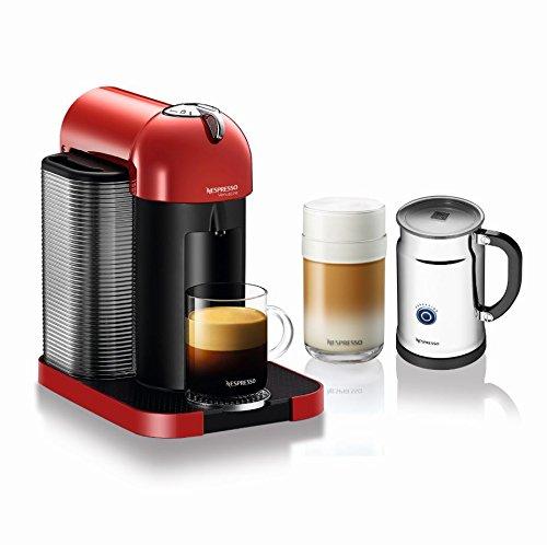 Nespresso A+GCA1-US-RE-NE VertuoLine Coffee and Espresso Maker with Aeroccino Plus Milk Frother, Red (Nespresso Cup Machine compare prices)
