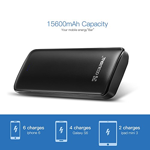 Coolreall 15600mAh Batería Externa Portátil,Power Bank, Energía móvil, 2 puertos Cargador Movil Portátil Carga rápida con una linterna LED para Smartphones iPhone 6s plus / 6 plus / 6s / 6 / 5s / 5, iPad, iPod, Samsung, Tablet PC, HTC,y otros dispositivos USB 2.1A salida (Negro)