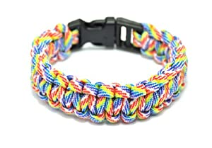 Generic Extra Beefy / Wide 300 lb Paracord Survival Bracelet With Whistle Buckle / Stainless Metal Bow Shackle by Generic