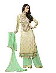 Beige Pure Georgette Anarkali Semi Stitched Suit With Sky Blue Dupatta