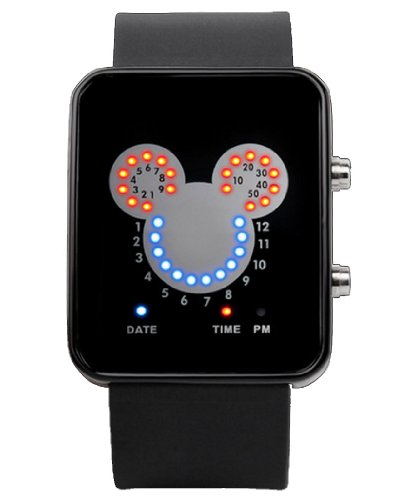 Fanmis Led Watches Mickey Head Red Blue Coloured Lights Calendar Black Silicone Watch Unisex