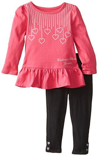 Calvin Klein Little Girls' Heart Top Set, Pink, 4T front-776255